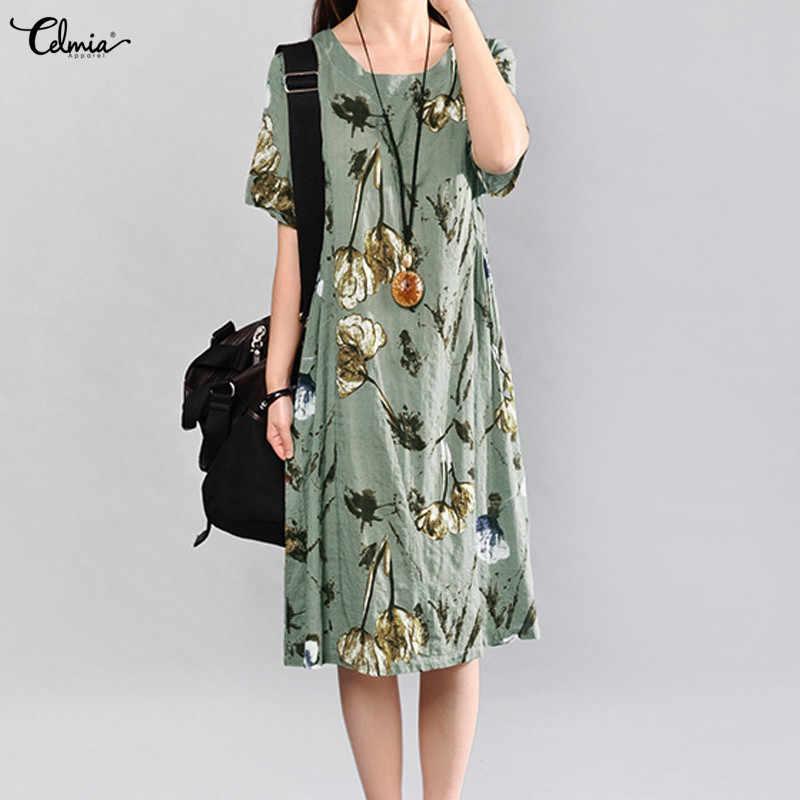 0cd291d61584 Celmia 2018 Summer Dress Women Vintage Floral Linen Dress Ladies Short  Sleeve Casual Vestido Female Midi