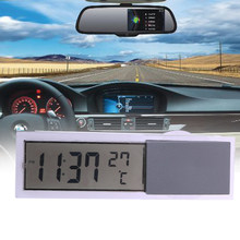 VODOOL Mini 2 in 1 LCD Digital Auto Car Truck Clock Thermometer with Suction Cup AG10 Button Cell Battery Operated 90x27x15mm(China)