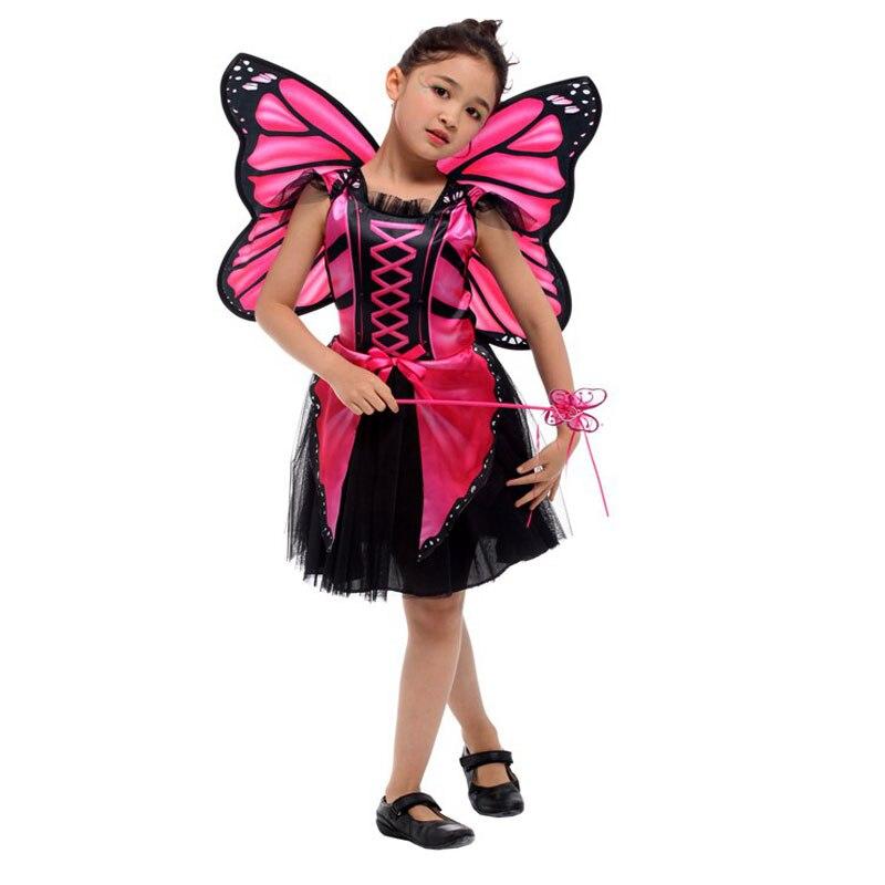 Child Pink Girls Fairytale Wings Angel Skull Fairy Halloween Costume
