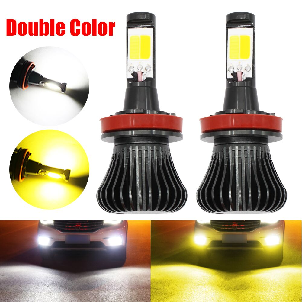 H11 LED Auto Fog Lamp Bulbs H1 H3 H7 9005 LED 21W COB chips 6000K White 3000K Amber Yellow Dual Color switch Car Driving Lights