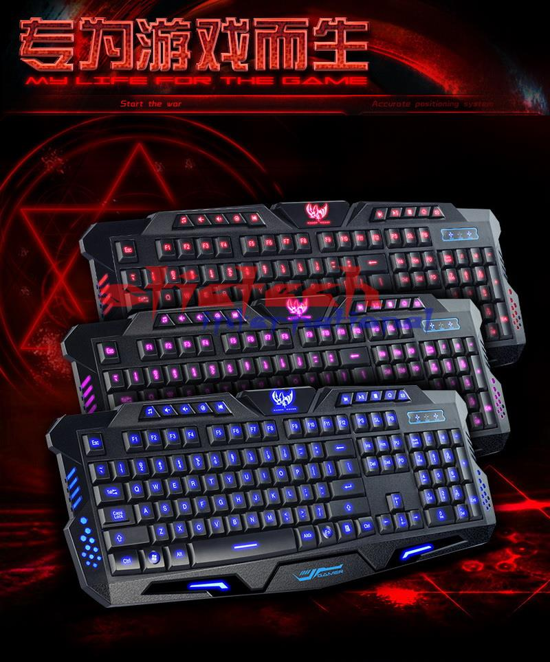 Led-Gamer-Keyboard Laptop Gaming Wired Computer Switchable Backlit 3-Color LOL DOTA2