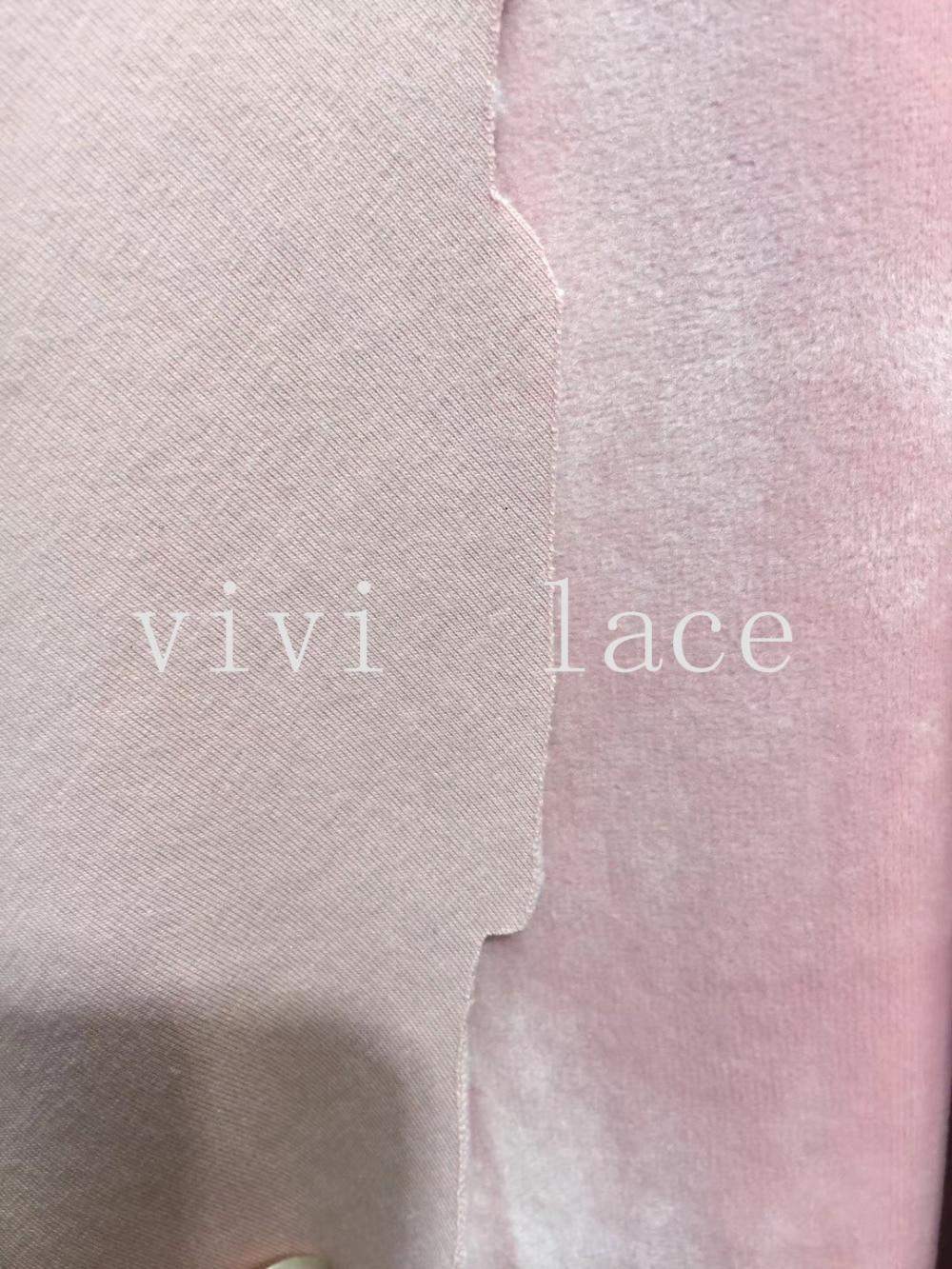 stock 5 yards xu002# <font><b>pink</b></font> <font><b>mink</b></font> velvet bonded with odell cotton 2 layer luxury winter <font><b>dress</b></font> lace for bridal wedding <font><b>dress</b></font>