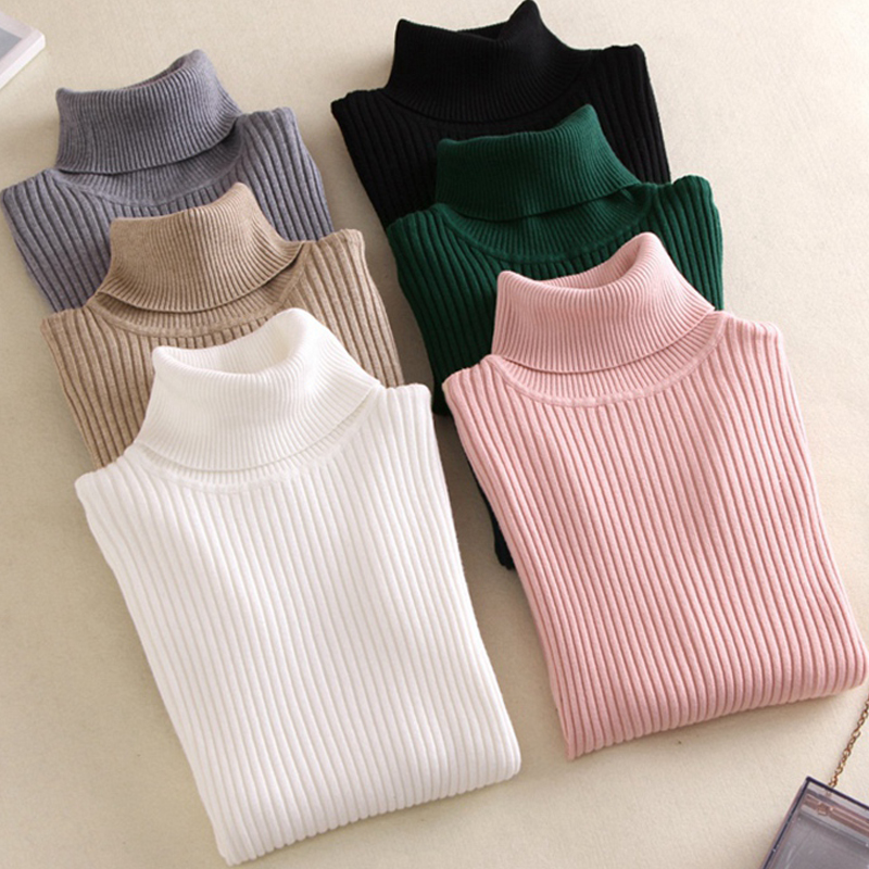 On Sale Pullover 2021 Spring Summer Women Knitted Foldover Turtleneck Sweater Casual Rib Jumper Throat Female Pull Clothing Coat