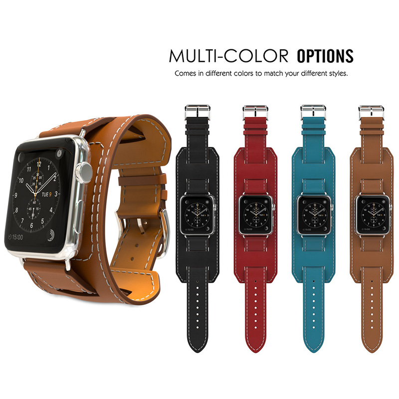 Genuine Leather Band For Apple Watch Band 42mm Bracelet Leather Blue Watchband Cuff With Adapter for iWatch Strap 38mm Brown 38 42mm leather strap cuff bracelet watch bands for apple watch for iwatch 5 colors new hot selling
