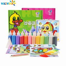 VICIVIYA 12Pcs/lot Kids DIY Sand Painting Toy Children Drawing Board Sets BubbleSand Handmade Picture Paper Craft Sand Draw Art(China)