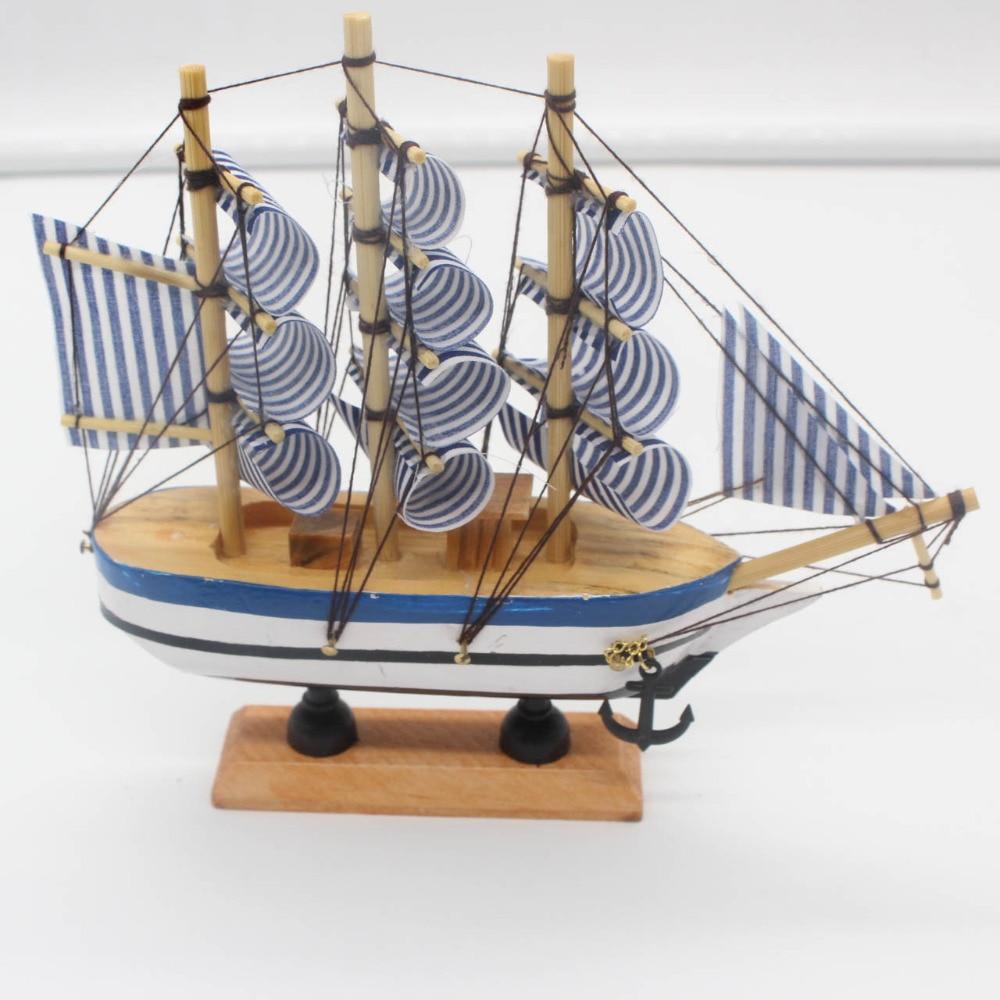 Nautical Wooden Sailing Boat Ship Wood Crafts Handmade Retro Ship Model Wood Decoration Sailboat Birthday Gift kids Home Decor