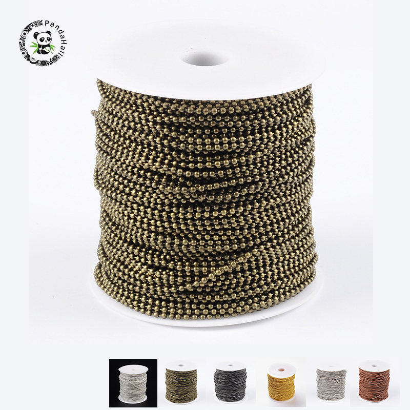 Pandahall 100m/roll Ball Chains With Spool For DIY Jewelry Accessories Finding Necklace Bracelet Making Size:2mm In Diameter