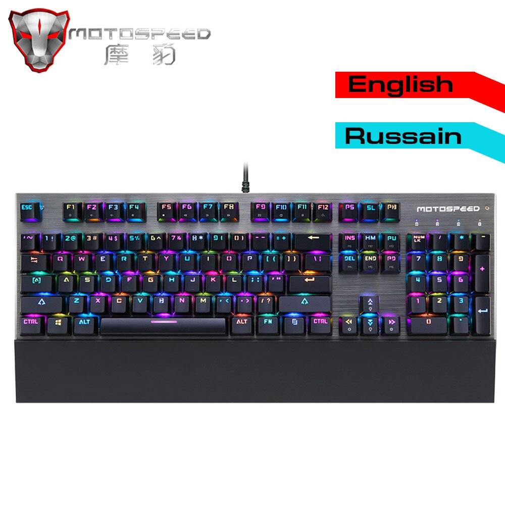 Original authentic Motospeed CK108 Gaming Mechanical Keyboard RGB Backlit LED Anti Ghosting Blue Switch Wired Keyboard