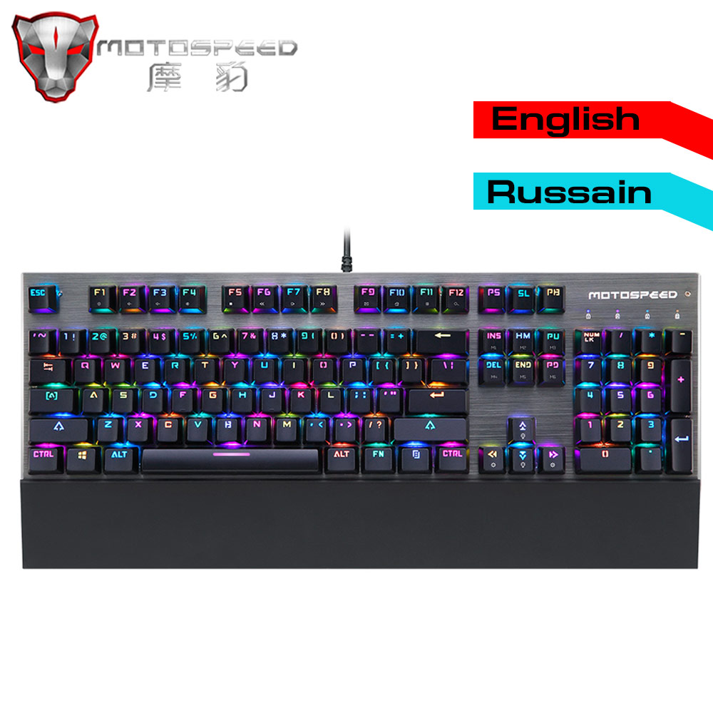 Autêntico e Original Motospeed CK108 Gaming Teclado Mecânico Backlit LED RGB Anti-Ghosting Azul Interruptor Wired Teclado para gamer