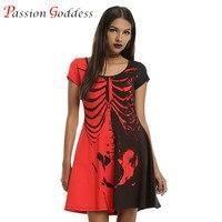 New 2016 Plus Size Women Halloween Dress O Neck Short Sleeve Skeleton Skull Print Mini A