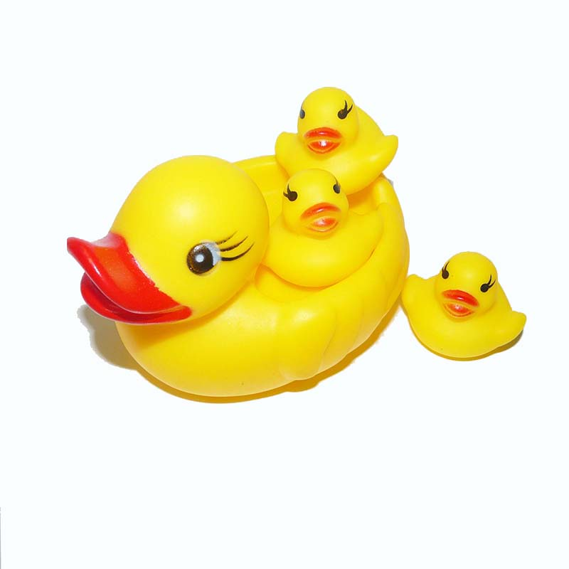 4PCS/LOT Baby Toys Water Floating Children Water Toys Yellow Rubber Duck Ducky Baby Bath Toy for Kids Squeeze Sound Squeaky Pool