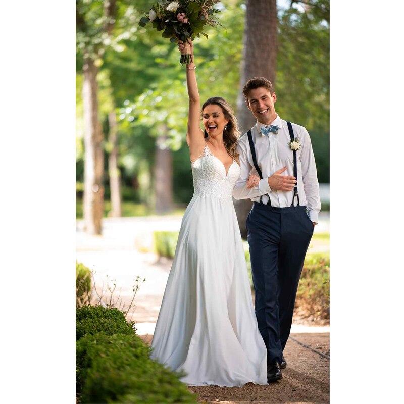 Chiffon Beach Wedding Dress Appliqued with Lace (5)