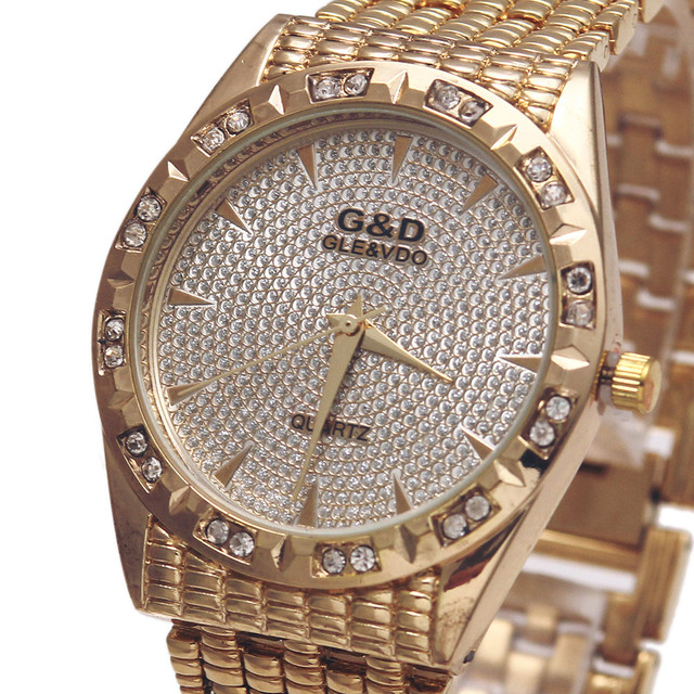 G&D Top Brand Luxury Women Bracelet Watches Quartz Wristwatch Silver Steel Reloj
