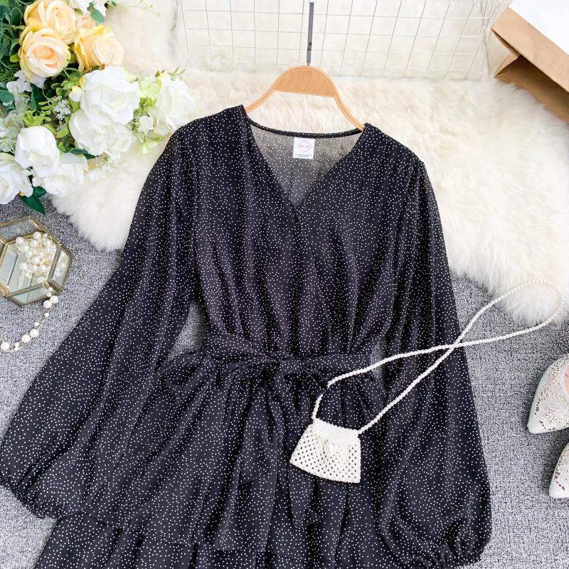Korean Summer 2019 Sweet Women Dress Elegant V Neck Puff Sleeve Dot Print Dress Cascading Ruffle A Line Female Dress Vestido 37