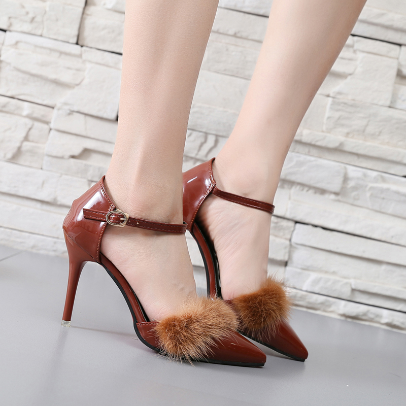 SLHJC 2017 Autumn Women High Heels Shoes Red Bottoms Sexy Pointed Toe Thin Heel Leather Party Club Fur Pumps Shoes Ankle Buckle slhjc 2017 autumn flat heel shoes pointed toe women flats with metal chain real fur loafers work shoes d25