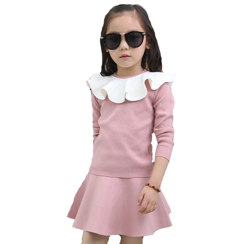 Girls Fashion Outfits Kids Solid Sweater & Skirts Suits 4 8 10 Years Children Clothes Sets Autumn Girls Knitted Tops Skirts Sets