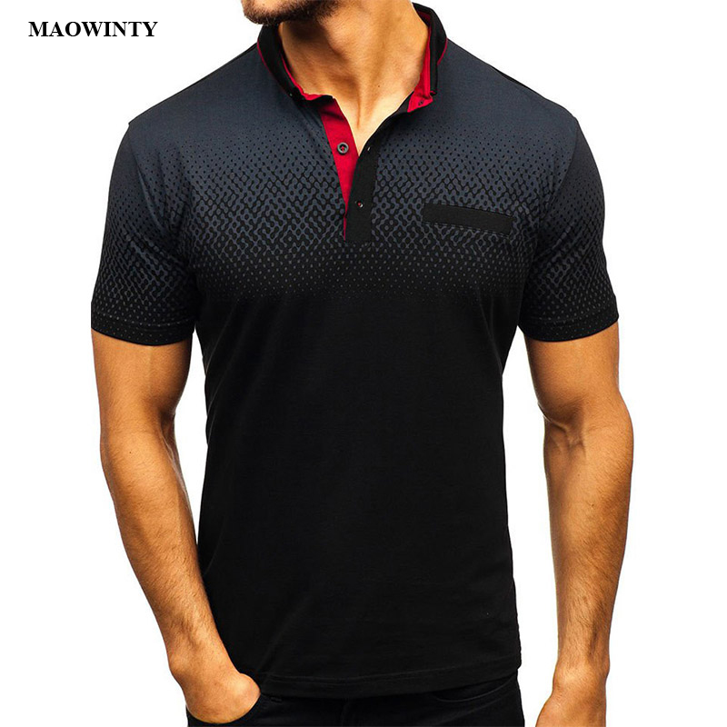 Polos   Gradient Print Casual Tees Slim Fit Men Tops Shirt Men 2019 New Fashion Turn-down Collar Basic Pullovers Summer Clothes