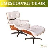 U-BEST現代スタイルeazeラウンジチェアとオットマン用レプリカリラックスチェア、ホワイトリアル革長椅子