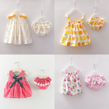 new Newborn Baby Girls Clothes Sleeveless Dress+Briefs 2PCS Outfits Set floral plaid Printed Clothing Sets Summer Sunsuit 0-24M