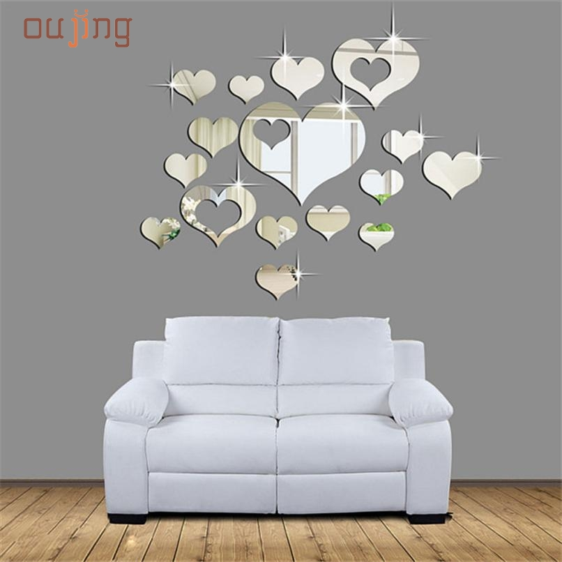 May 5 Mosunx Business 1Set 15pcs Home 3D Removable Heart Art Decor Wall Stickers Living Room Decoration