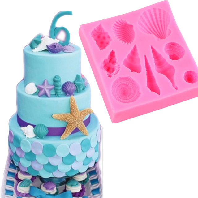 3D Shells Silicone Mold And 4Pcs Fish Mould Sugarcraft Cake Decorating Tools Fondant Cookie Cutter