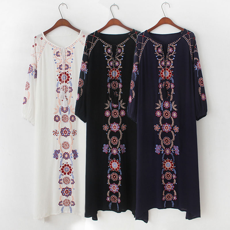 Bohemian Mujer Floral Embroidery Beach Holiday Vestidos Solid Long Sleeve Maxi Hippie Boho Chic Women Embroidered