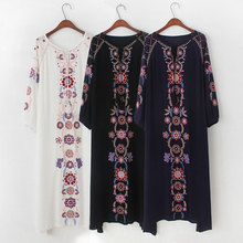 Bohemian Mujer Floral Embroidery Beach Holiday Vestidos Solid Long Sleeve Maxi Hippie Boho Chic Women Embroidered Long Dress
