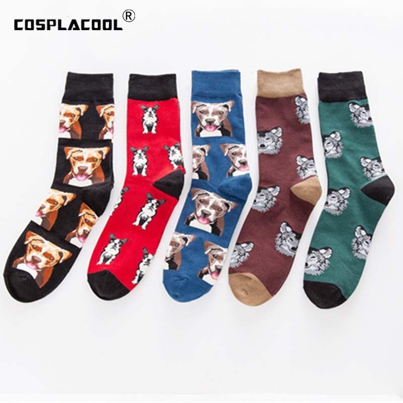 [COSPLACOOL]Cute Pug/Dog Funny Happy Socks Skarpetki Men Hip Hop Creative Harajuku Men Socks Crew Calcetines Hombre Chaussette
