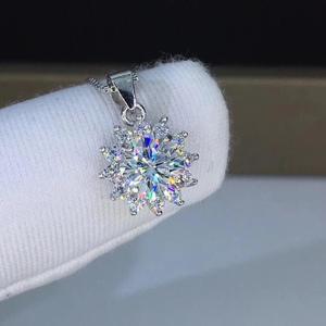 Image 3 - Poetry Of Jew Store Round Silver Moissanite Pendants 1ct D VVS Luxury Moissanite Weding Pendants for Women