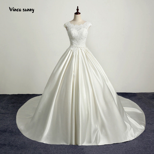 2018 New Design A Line Satin Wedding Dresses Boat Neck Beaded Sash ...