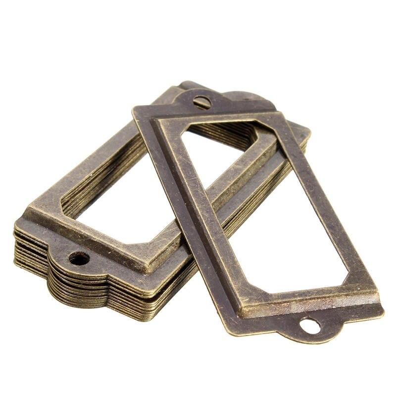 MTGATHER 12Pcs Antique Brass Metal Label Pull Frame Handle File Name Card Holder For Furniture Cabinet Drawer Box Best Price