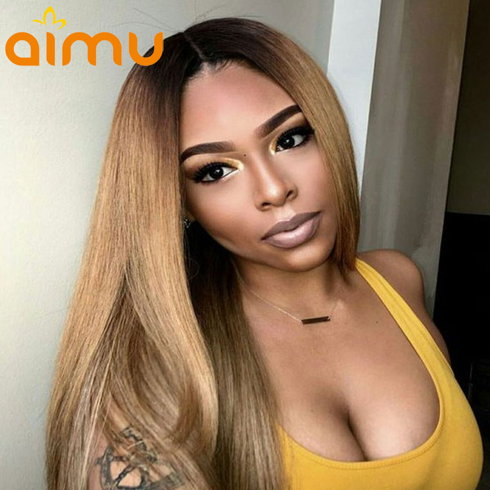 Deep Part Ombre Lace Wigs 1B 27 250% Brazilian Straight Lace Front Human Hair Wigs Remy Dark Roots Honey Blonde Lace Front Wig