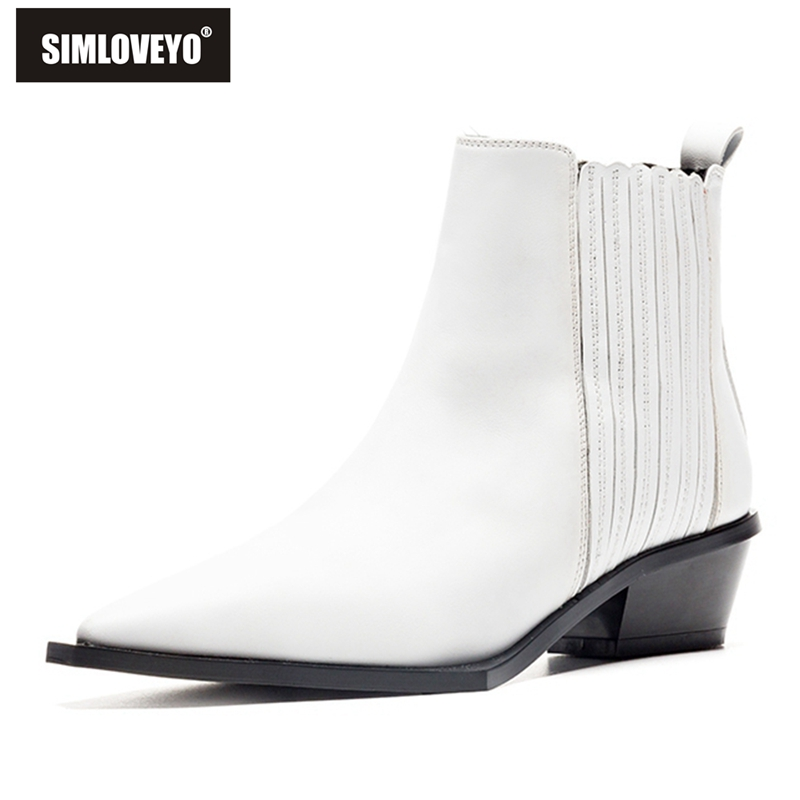 SIMLOVEYO 2019 new arrival ankle boots for women genuine leather autumn Spring boots pointed toe punk new boots ladies shoes