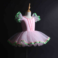 Girls Ballet Skirt Pink Puff Sleeve Tutu Profession Dancing Dress Adult Children Competition Ballet Dance Costume