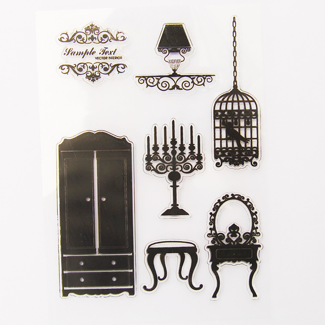 Vintage möbel schrank transparent silikon klare stempel für ...