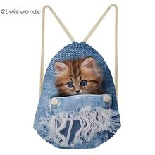 Cute Animal Cat Pattern Small Women Backpack Cowboy Travel Female Drawstring Bag School Girls Bagpack Casual Storage Pocket