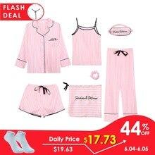JULY'S SONG Pink para mujer 7 piyamas conjuntos emulación seda pijamas a rayas Mujer ropa de dormir conjuntos Primavera Verano otoño ropa de casa