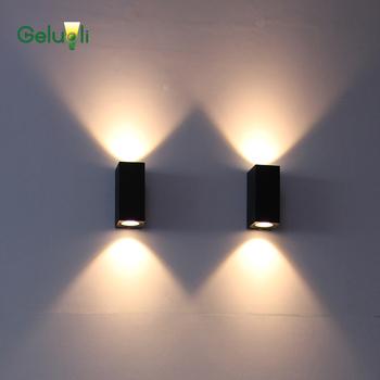 Oświetlenie zewnętrzne wewnętrzne i zewnętrzne oświetlenie ścienne LED COB balkon na ścianę w korytarzu lampa schodowa w dół kinkiet tanie i dobre opinie Kinkiety IP65 ROHS Żarówki led GELUOLI Waterproof 3YEARS TEMPERED GLASS 85-265 v Klin Aluminium Nowoczesne BDFS06C