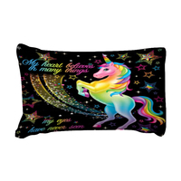 Dropshipping Duvet Cover Rainbow Unicorn Fairytale with Sparkling Stars 3D Digital Printing Bedding Sets Black Background 4