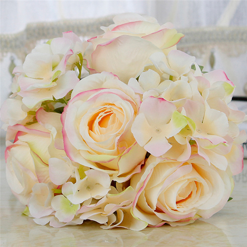 DIY decor Korean style high-end custom bride hand holding flower bouquet pearl simulation ivory pink roses green leaves