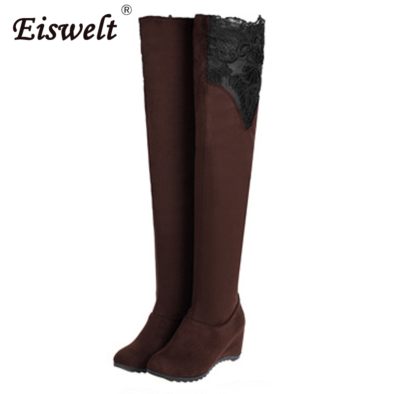 EISWELT Woman Winter Shoes Plus size Slim Thigh High Boots Wedges Women Sexy Flock Lace Over the Knee Boots High Heels#ZQS102 eiswelt women thigh high boots sexy high heels platform boots over the knee boots women winter autumn shoes plus size zqs161