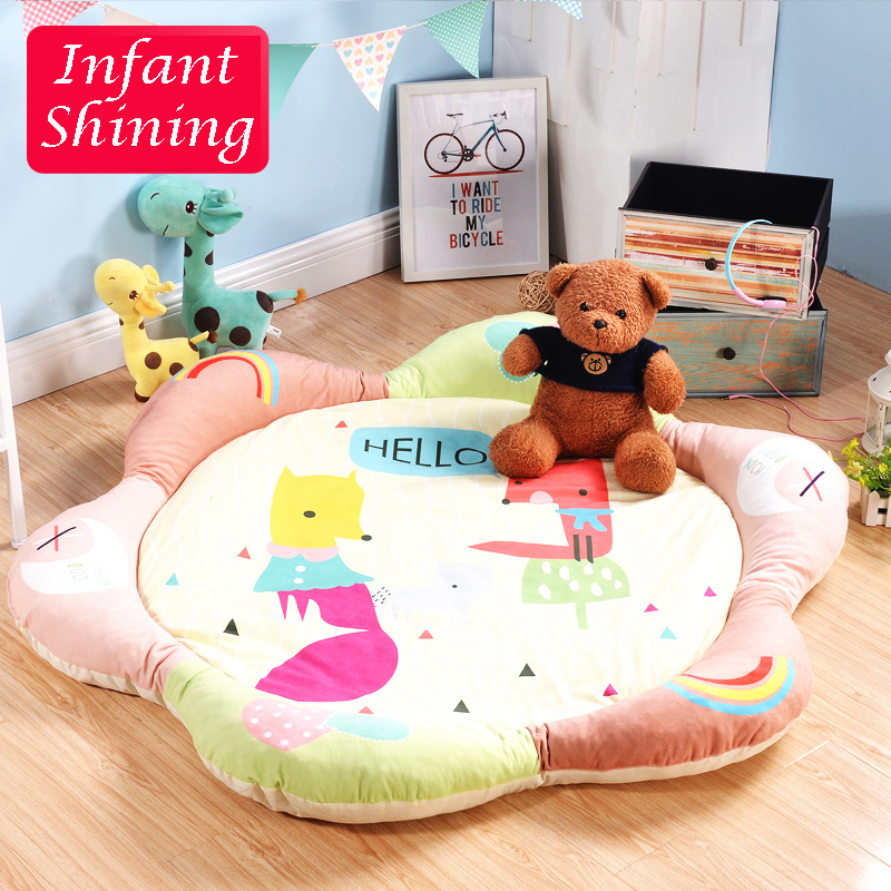 Infant Shining Cotton Baby Play Mat Round Rugs Sunflower Petals Carpet Middle Thickness 4CM(1.4IN) Edge Thickness 10CM (4IN) infant shining rectangle baby play mats four seasons cotton carpet cartoon children bedroom blanket living room rugs