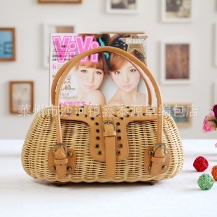 32x15CM   rattan bag new Straw bag Japan   export eagerly Casual fashion beach knitting Women A4661 sa212 saddle bag motorcycle side bag helmet bag free shippingkorea japan e ems