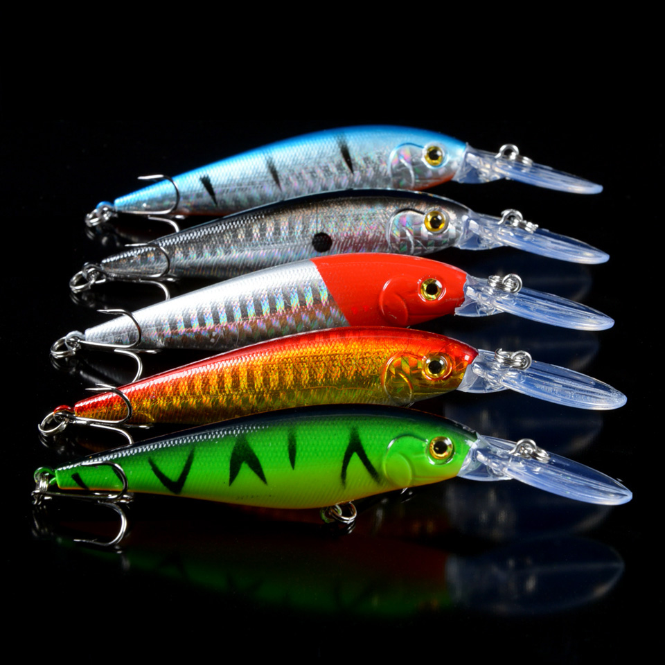 New Fishing Lure 5pcs lot Hard Baits Artificial Lifelike High Quality Bass Crankbait Wobblers Fishing Tackle 4# hooks pesca