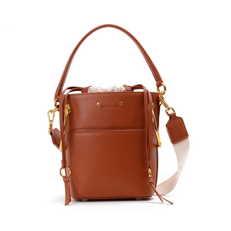 2018 NEW Women Vintage Handbags Genuine Leather Cowhide Bag Lady Totes Bags Drawstring Ring Design Solid Fashion Shoulder Bucket fashion leather handbags luxury head layer cowhide leather handbags women shoulder messenger bags bucket bag lady new style