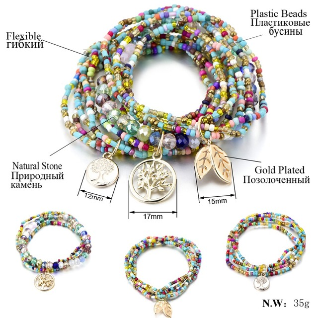 Bohemian Style Life of Tree Leave Charm Beads Bracelets For Women 1