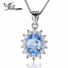 JewelryPalace Princess Diana William Kate 2.3ct Pure Blue Topaz Halo Pendant Real 925 Sterling Silver Not Embrace A Chain