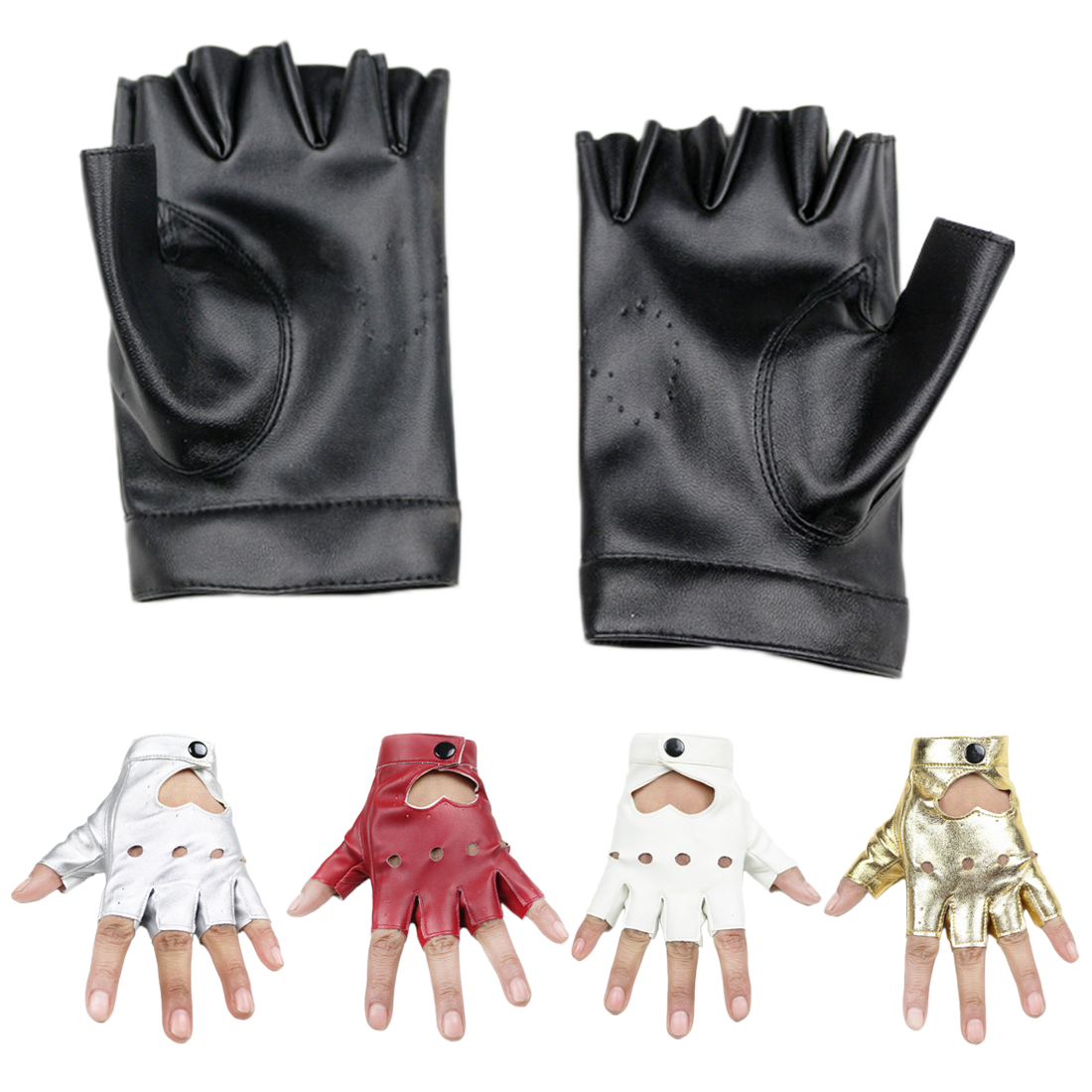 PU Leather Women Gloves Stylish Hand Warmer Winter Gloves Women Heart Hollow Warm Fingerless Gloves Gants Femme