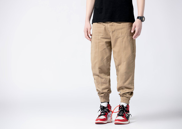0bd4b0d4883485 men casual harem jogger pants Men's trousers Khaki black grey army green 4  colors
