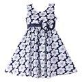 2015 Nuevos Vestidos de Las Muchachas Azul Marino Arco de La Flor Del Partido Del Desfile de Niños Clothing Size 4-10